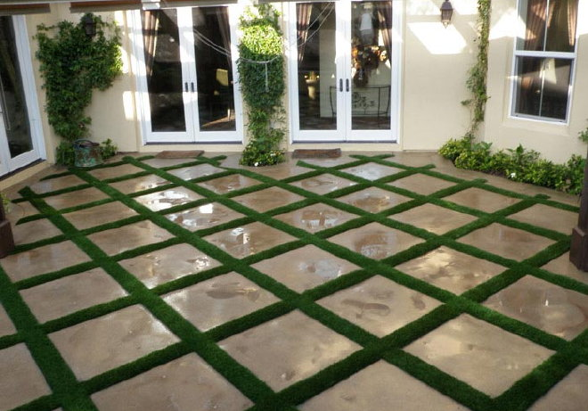 Best landscape designs with fake grass newturf for Designing with grasses